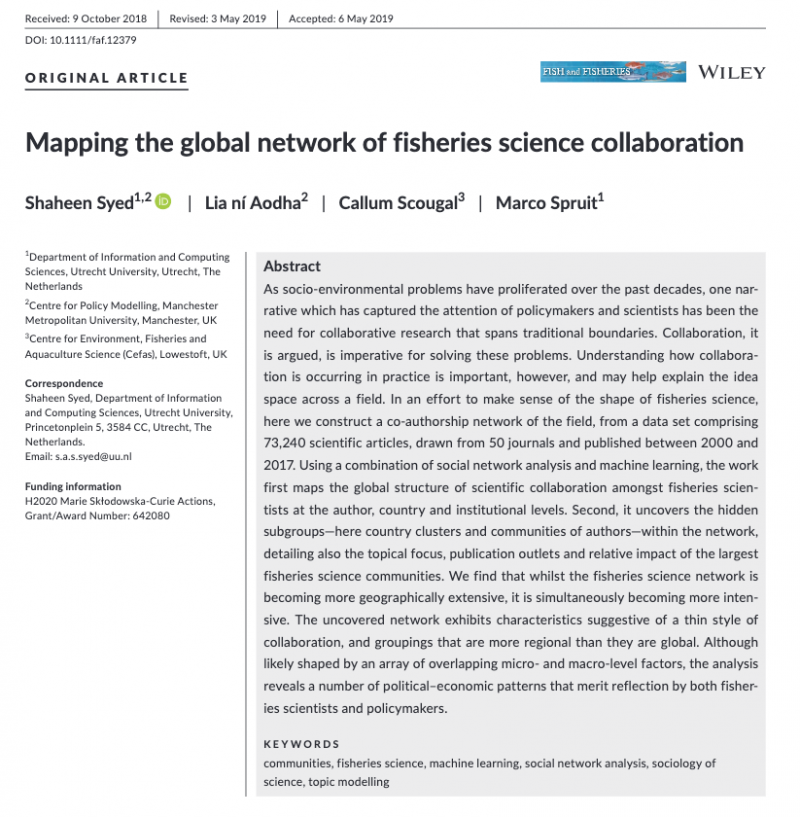 Mapping the global network of fisheries science collaboration