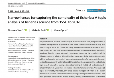 Narrow lenses for capturing the complexity of fisheries- A topic analysis of fisheries science from 1990 to 2016