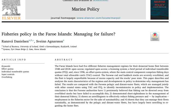 Rannvá Danielsen publishes paper in Marine Policy